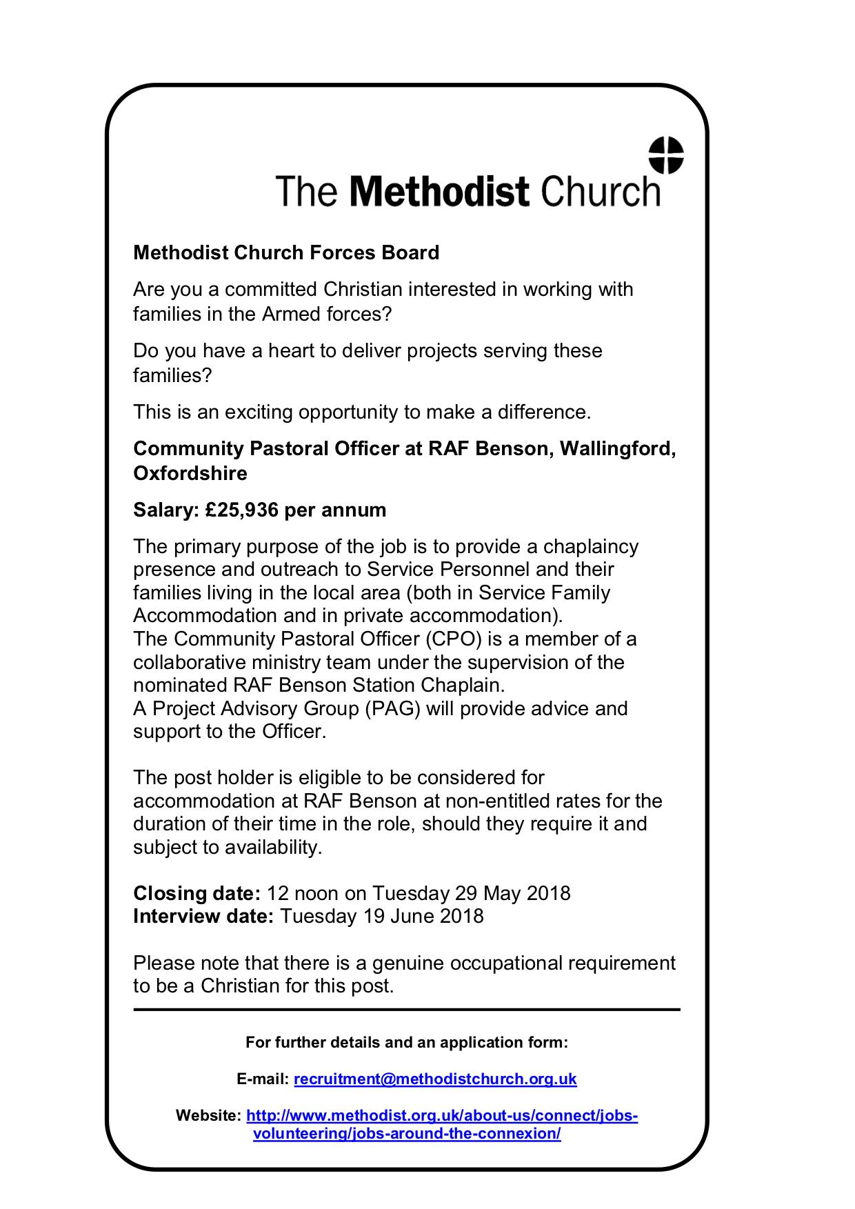 180509 RAF Benson Community Pastoral Officer Advert